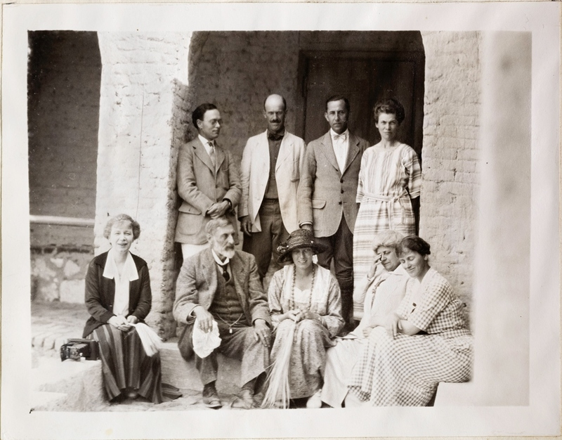 Group photograph of the Metropolitan Museum's Theban Expedition team, early 1920s. Left to right, back row: Walter Hauser, Herbert Winlock, Harry Burton, Mrs. Mace; front row: Minnie Burton, Sir. H. Ryder Haggard, Lady Haggard, Mrs Armstrong, Helen Winlock