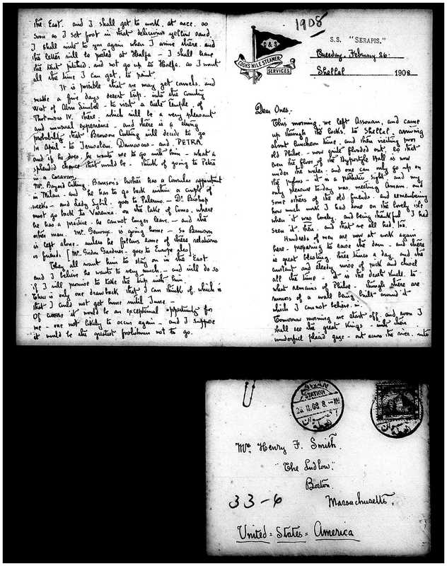 Letter from Joseph Lindon Smith to Corinna Putnam Smith, Pages 1, 2 and envelope front
