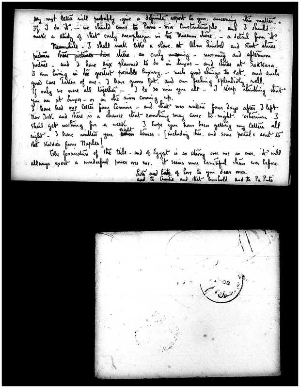 Letter from Joseph Lindon Smith to Corinna Putnam Smith, Page 3, back of envelope