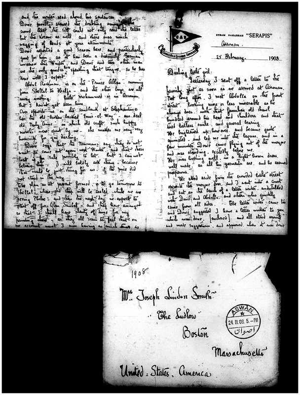 Letter from Joseph Lindon Smith to Corinna Putnam Smith, Pages 1,2 and envelope