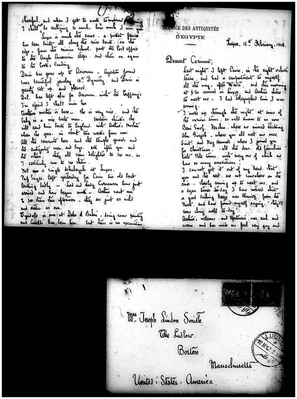 Letter from Joseph Lindon Smith to Corinna Putnam Smith, pages 1, 2 and envelope