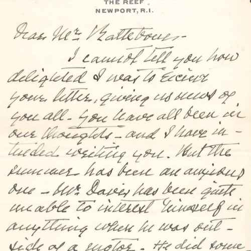 1914/1915 letter from Mrs. Emma B. Andrews to Mr. Rathbone