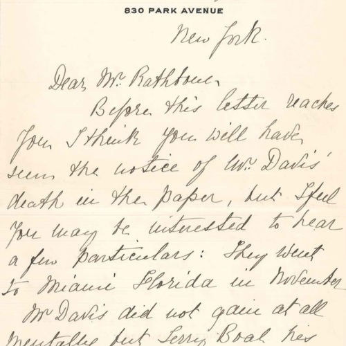 1915-02-25 letter from Mary N. Busk to Mr. Rathbone