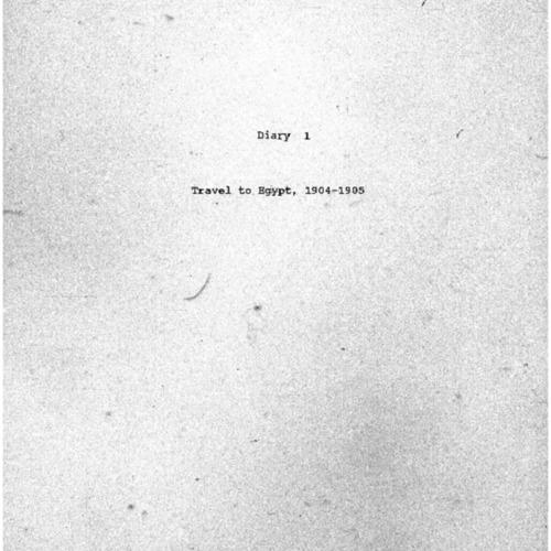 1904-1905 Travel to Egypt